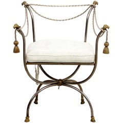Hollywood Regency Iron and Gilt Armchair