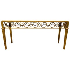 Hollywood Regency Iron Gold Gilt Marble-Top Console