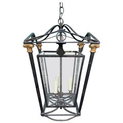 Hollywood Regency Iron Three-Light Lantern, circa 1930s-1940s