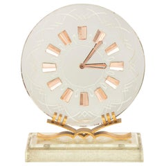 Hollywood Regency Italian Art Deco Mirror Glass Clock on Glass Base