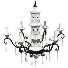Hollywood Regency Italian Blanc De Chine Pagoda Chandelier with Opaline Drops