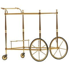 Hollywood Regency Italian Brass Bar Cart, circa 1970s