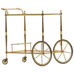 Hollywood Regency Italian Brass Bar Cart, circa 1970s