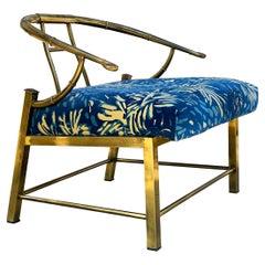 Hollywood Regency Italian Brass Barrel Back Lounge Chair by Mastercraft