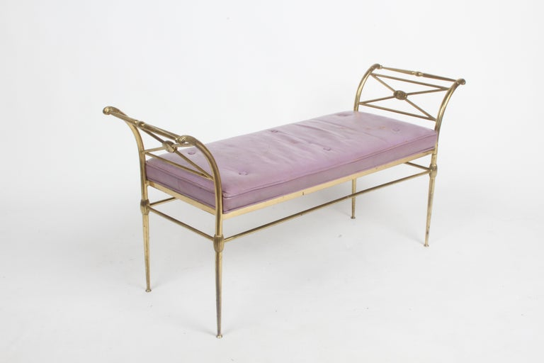 Hollywood Regency Italian Brass Bench with Arms on Tapered Legs Violet Leather For Sale 6