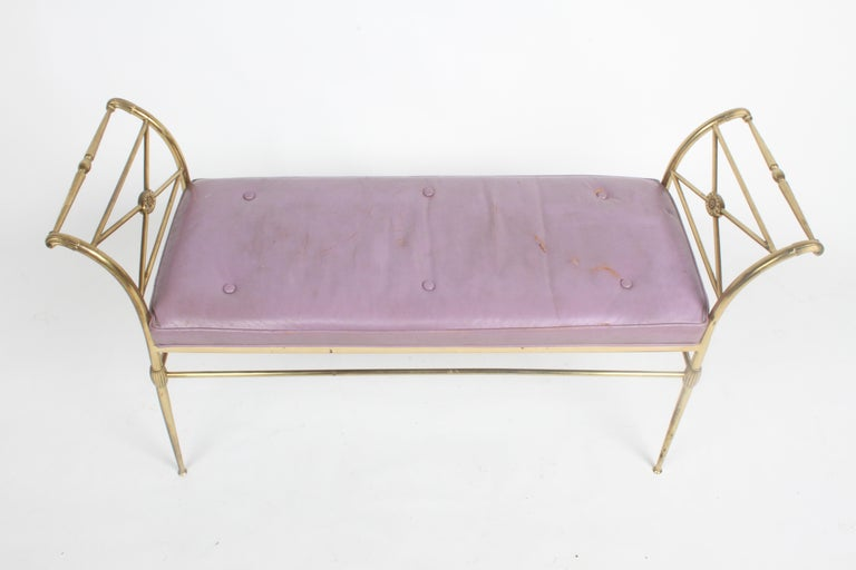 Hollywood Regency Italian Brass Bench with Arms on Tapered Legs Violet Leather In Good Condition For Sale In St. Louis, MO