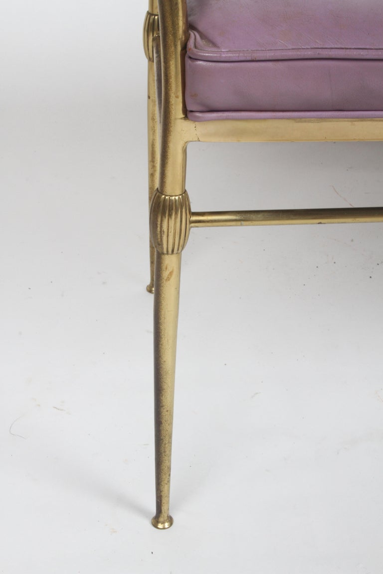 Hollywood Regency Italian Brass Bench with Arms on Tapered Legs Violet Leather For Sale 1