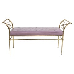 Hollywood Regency Italian Brass Bench with Arms on Tapered Legs Violet Leather