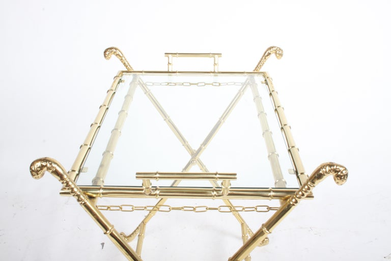 Hollywood Regency Italian Faux Bamboo Brass Dry Bar or Cocktail Tray Table For Sale 6