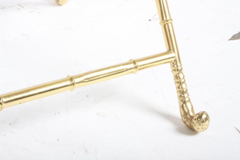 Hollywood Regency Italian Faux Bamboo Brass Dry Bar or Cocktail Tray Table For Sale 9