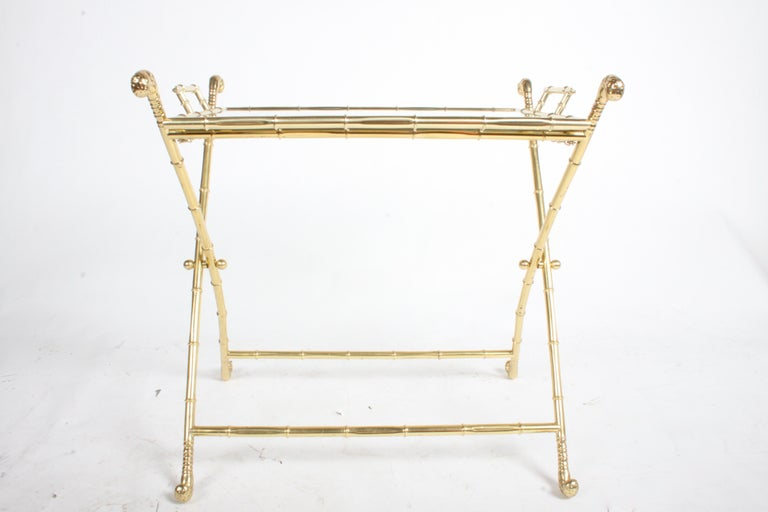 Hollywood Regency Italian Faux Bamboo Brass Dry Bar or Cocktail Tray Table For Sale 11