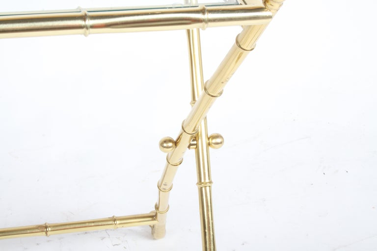 Hollywood Regency Italian Faux Bamboo Brass Dry Bar or Cocktail Tray Table For Sale 12