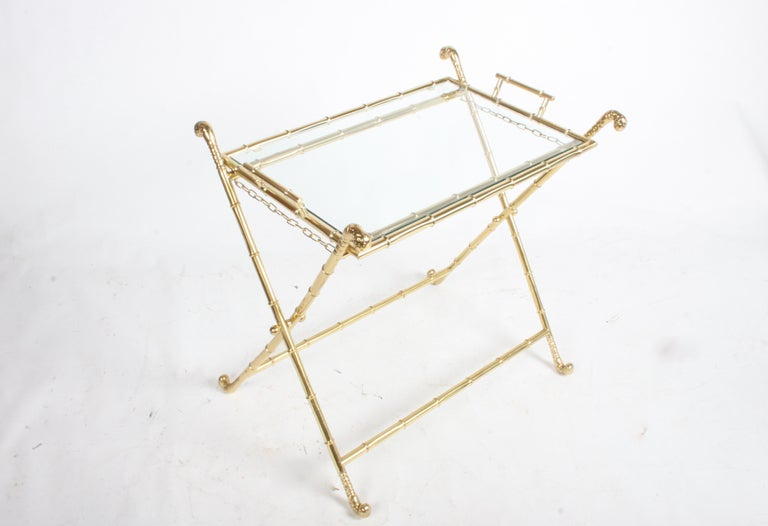Hollywood Regency Italian Faux Bamboo Brass Dry Bar or Cocktail Tray Table In Good Condition For Sale In St. Louis, MO