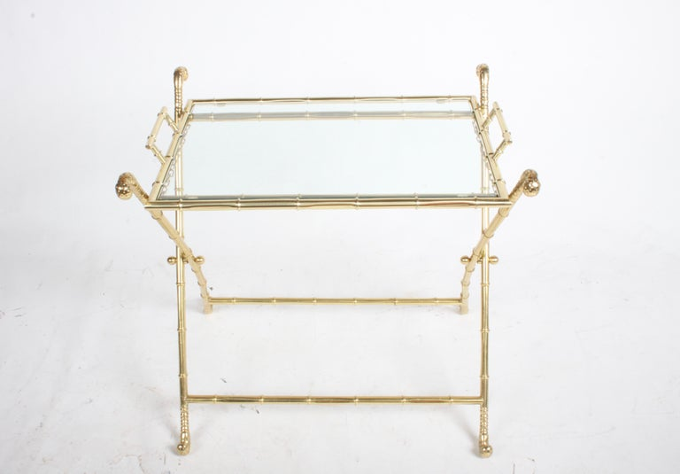 Hollywood Regency Italian Faux Bamboo Brass Dry Bar or Cocktail Tray Table For Sale 1