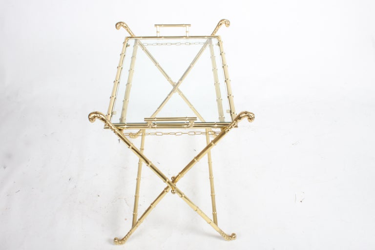 Hollywood Regency Italian Faux Bamboo Brass Dry Bar or Cocktail Tray Table For Sale 2