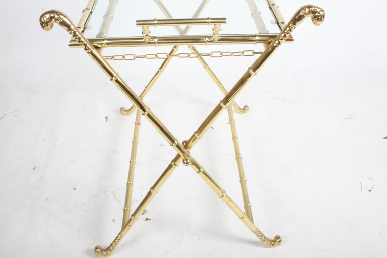 Hollywood Regency Italian Faux Bamboo Brass Dry Bar or Cocktail Tray Table For Sale 3