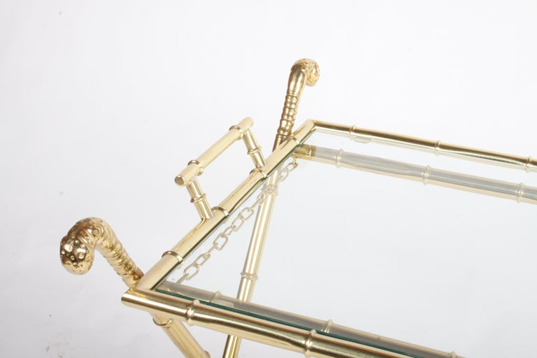 Hollywood Regency Italian Faux Bamboo Brass Dry Bar or Cocktail Tray Table For Sale 4