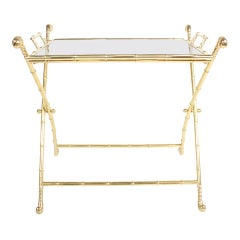 Hollywood Regency Italian Faux Bamboo Brass Dry Bar or Cocktail Tray Table