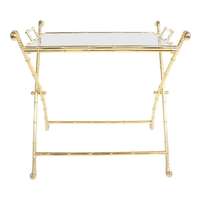 Hollywood Regency Italian Faux Bamboo Brass Dry Bar or Cocktail Tray Table For Sale