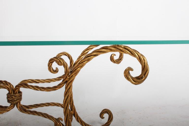 Hollywood Regency Italian Gilt Braided Rope Coffee Table For Sale 5