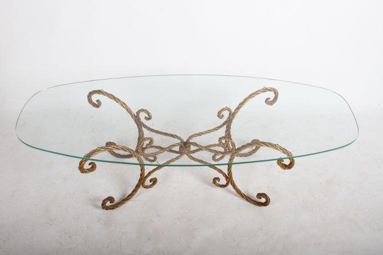 Hollywood Regency Italian Gilt Braided Rope Coffee Table For Sale 6