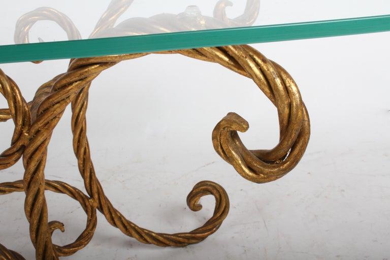 Hollywood Regency Italian Gilt Braided Rope Coffee Table For Sale 7