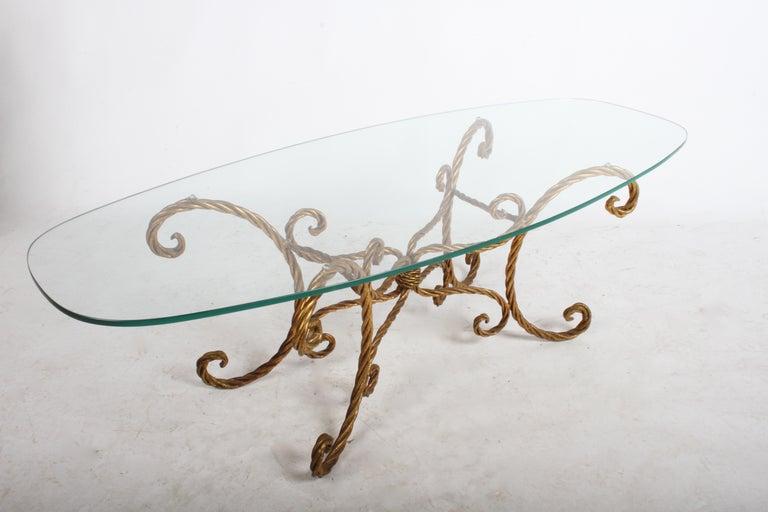 Hollywood Regency Italian Gilt Braided Rope Coffee Table For Sale 8