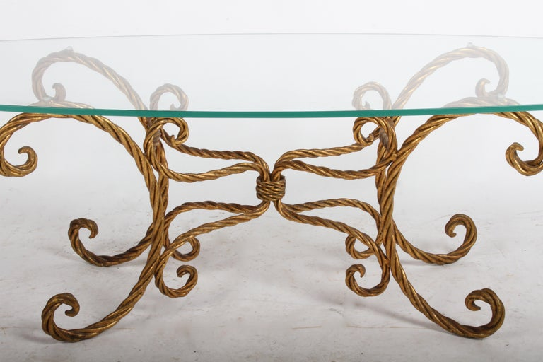 Mid-20th Century Hollywood Regency Italian Gilt Braided Rope Coffee Table For Sale