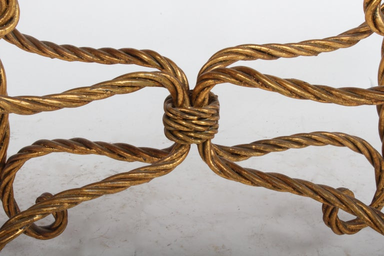 Iron Hollywood Regency Italian Gilt Braided Rope Coffee Table For Sale