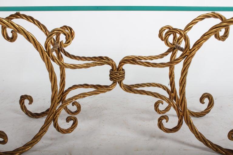 Hollywood Regency Italian Gilt Braided Rope Coffee Table For Sale 1