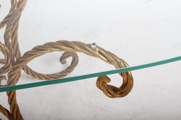 Hollywood Regency Italian Gilt Braided Rope Coffee Table For Sale 2