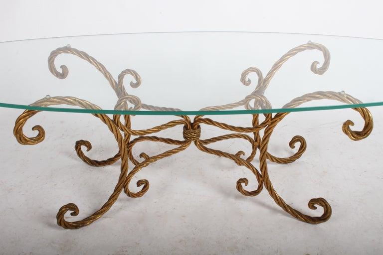 Hollywood Regency Italian Gilt Braided Rope Coffee Table For Sale 3