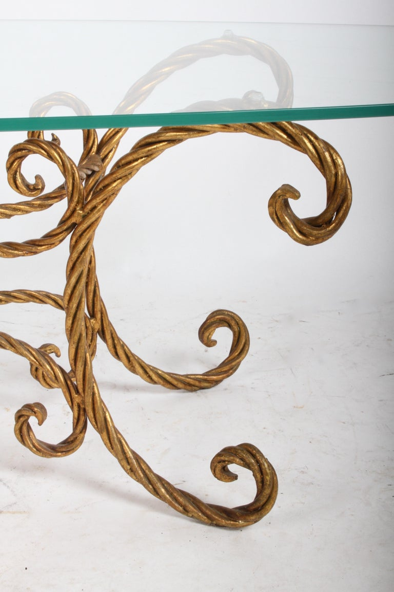 Hollywood Regency Italian Gilt Braided Rope Coffee Table For Sale 4