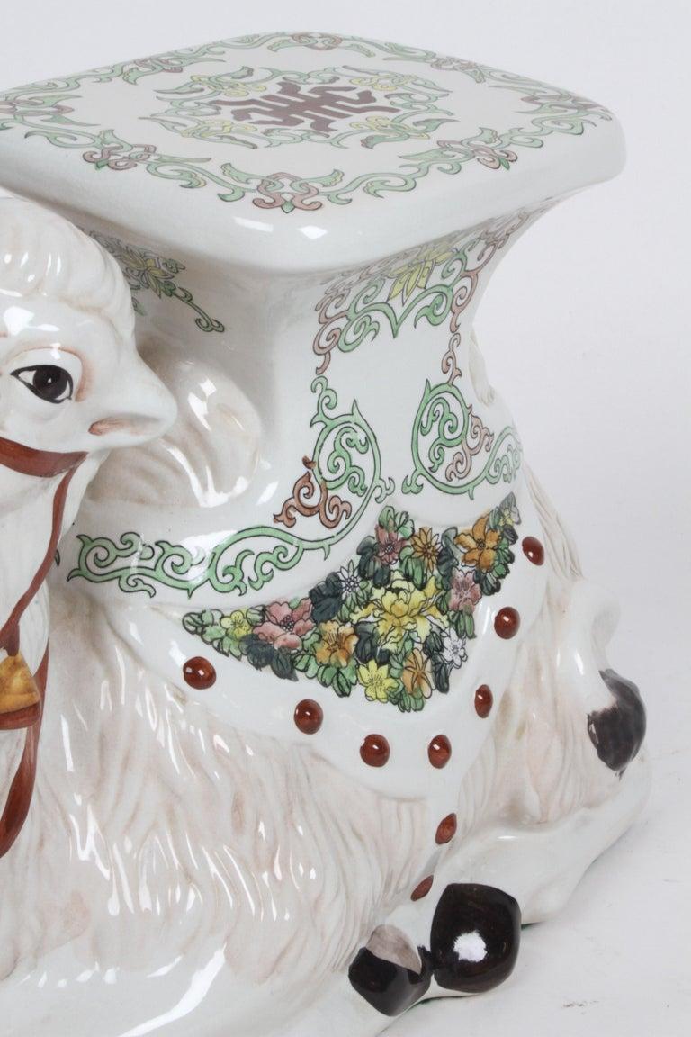 Hollywood Regency Italian Glazed Terracotta Camel Garden Seat or Plant Stand  For Sale 6
