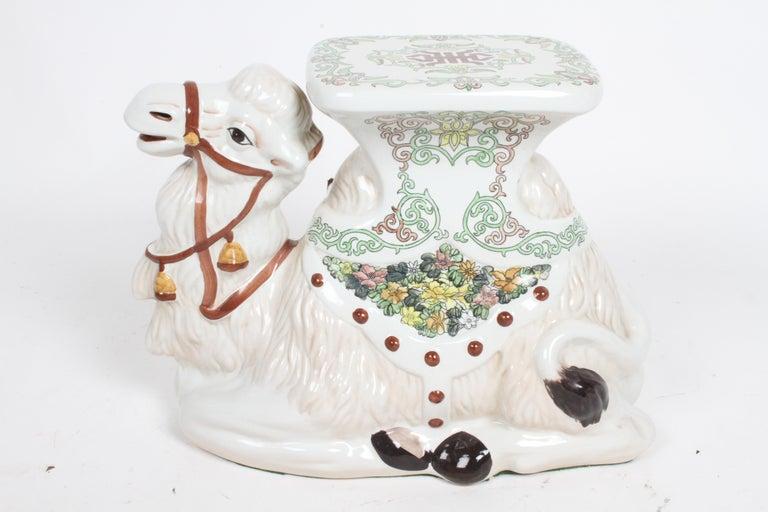 Hollywood Regency Italian Glazed Terracotta Camel Garden Seat or Plant Stand  For Sale 7