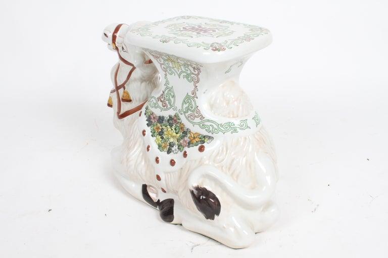 Hollywood Regency Italian Glazed Terracotta Camel Garden Seat or Plant Stand  For Sale 10