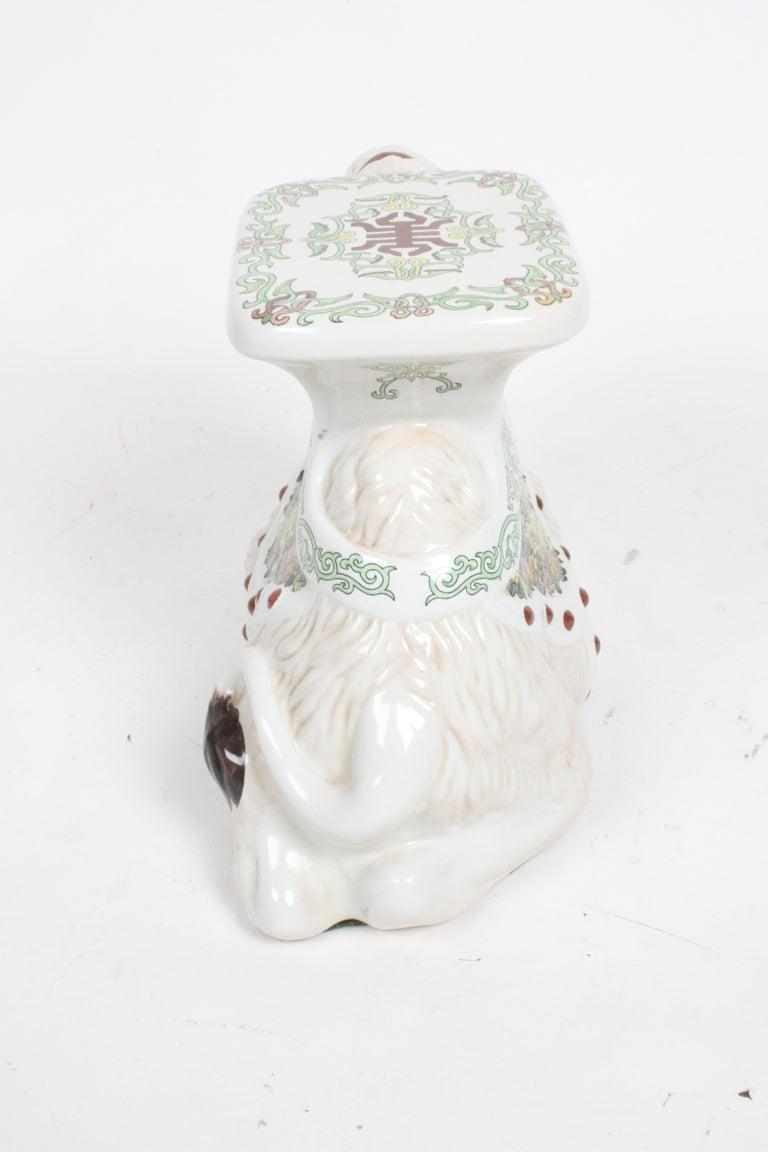 Hollywood Regency Italian Glazed Terracotta Camel Garden Seat or Plant Stand  For Sale 11