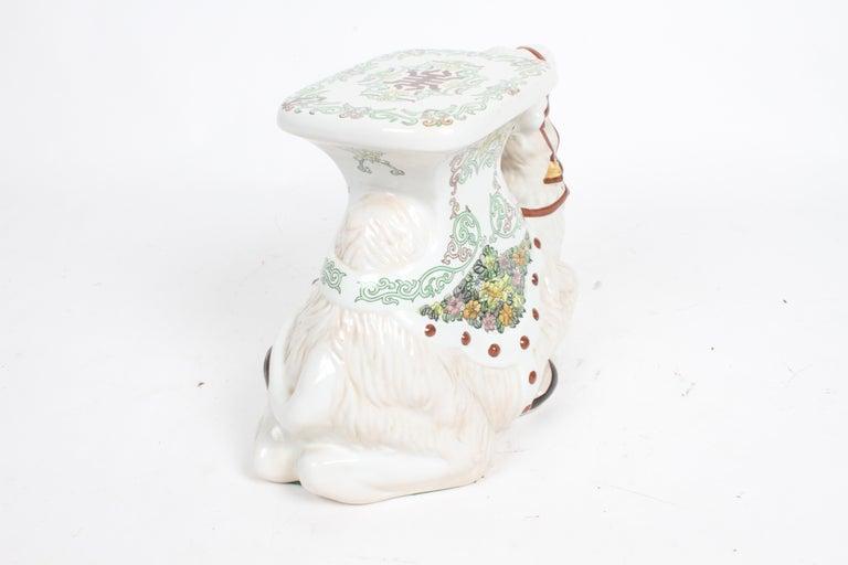 Hollywood Regency Italian Glazed Terracotta Camel Garden Seat or Plant Stand  For Sale 12