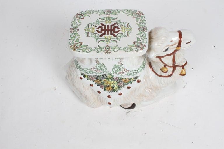 Hollywood Regency Italian Glazed Terracotta Camel Garden Seat or Plant Stand  For Sale 13