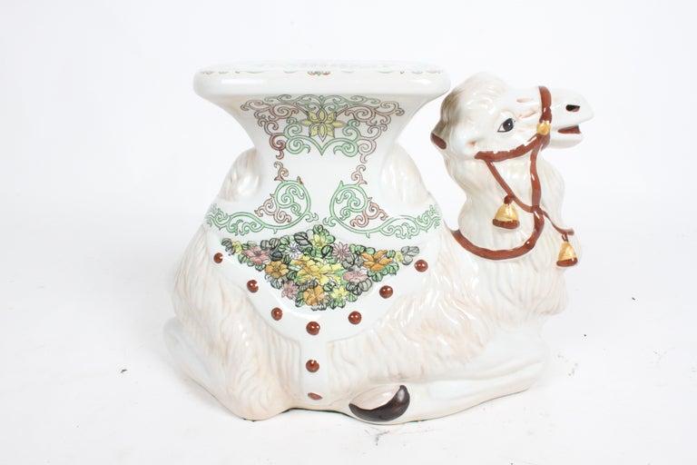 Hollywood Regency Italian Glazed Terracotta Camel Garden Seat or Plant Stand  For Sale 15