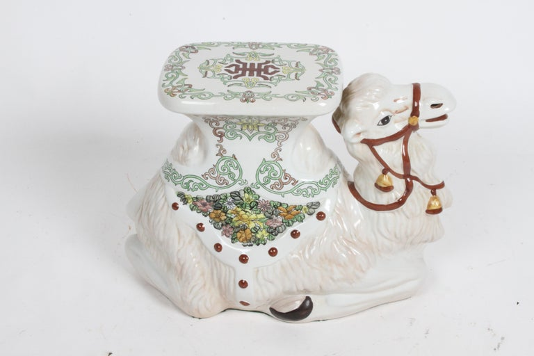 Hollywood Regency Italian Glazed Terracotta Camel Garden Seat or Plant Stand  In Good Condition For Sale In St. Louis, MO