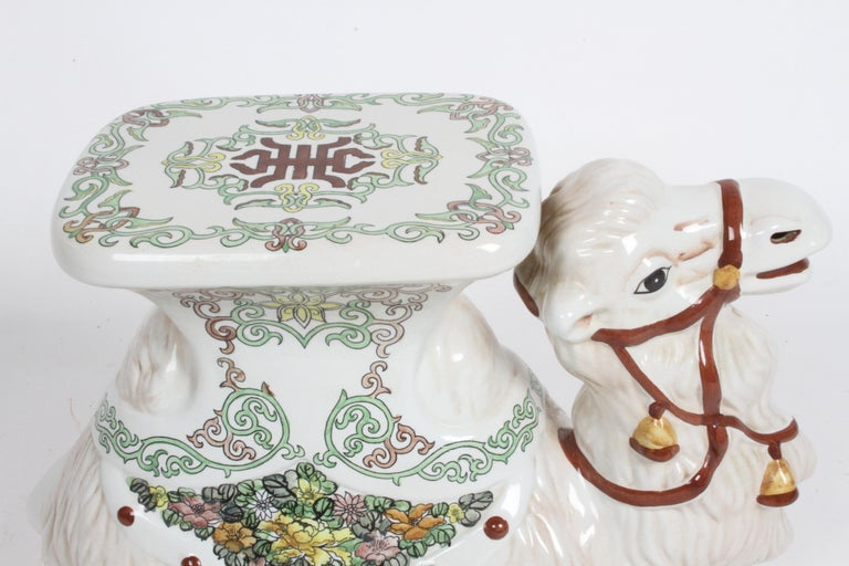 Hollywood Regency Italian Glazed Terracotta Camel Garden Seat or Plant Stand  For Sale 2