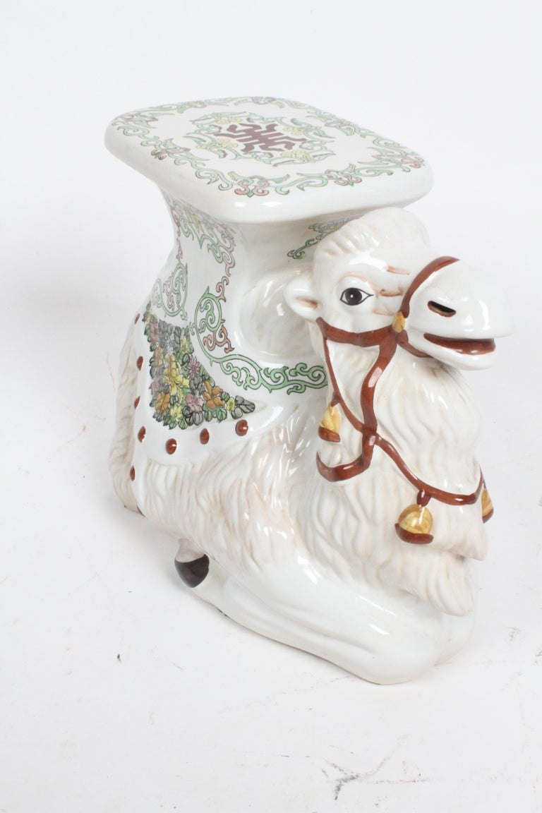 Hollywood Regency Italian Glazed Terracotta Camel Garden Seat or Plant Stand  For Sale 3