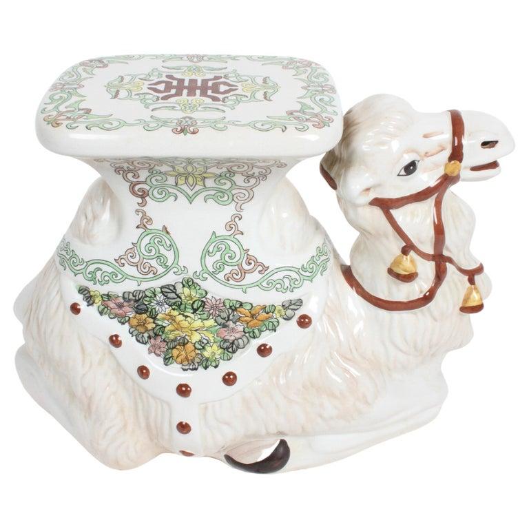 Hollywood Regency Italian Glazed Terracotta Camel Garden Seat or Plant Stand  For Sale