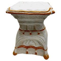 Hollywood Regency Italian Glazed Terracotta Garden Stool Plant Stand or Seat