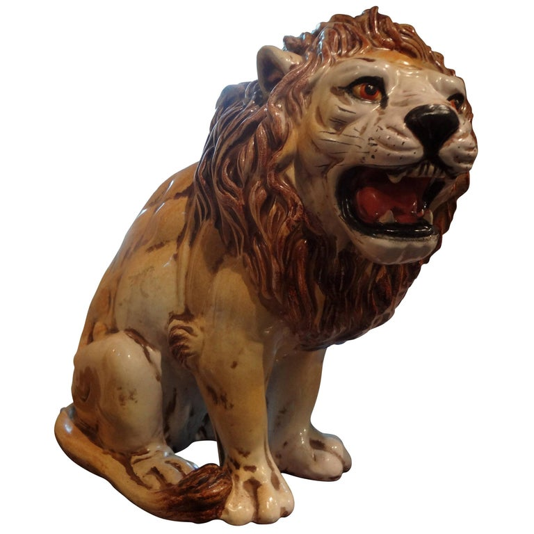 Hollywood Regency Italian Glazed Terracotta Lion For Sale