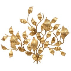 Hollywood Regency Italian Gold Gilt Iron Tole Back Lit Wall Sculpture Sconce