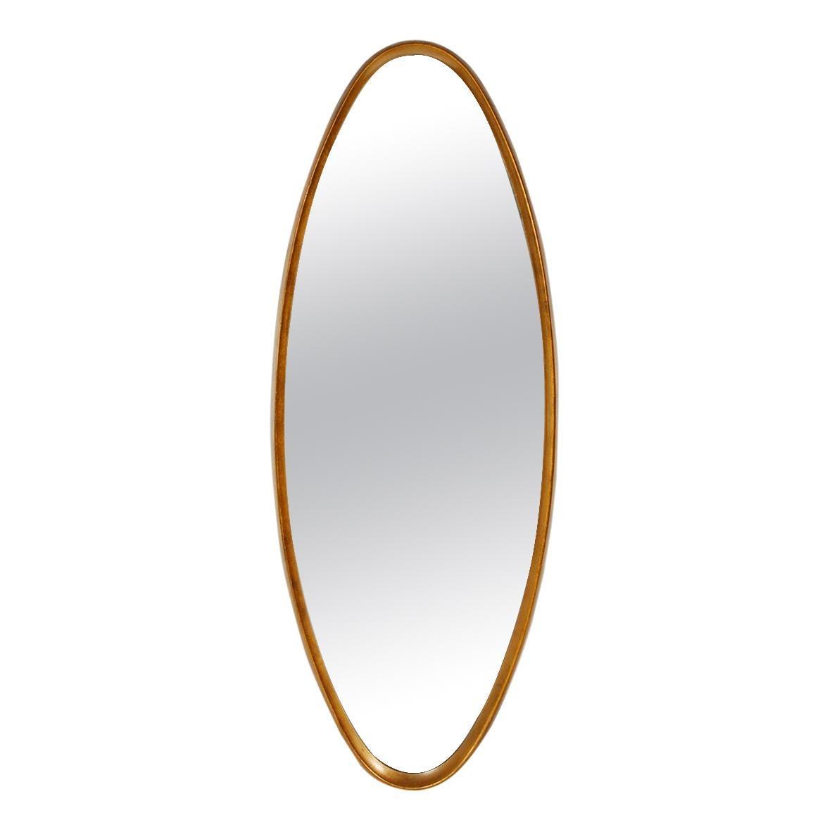 Hollywood Regency Italian Gold Giltwood Frame Oval Wall Mirror