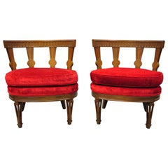 Hollywood Regency Italian Low Barrel Back Red Slipper Lounge Chairs - a Pair
