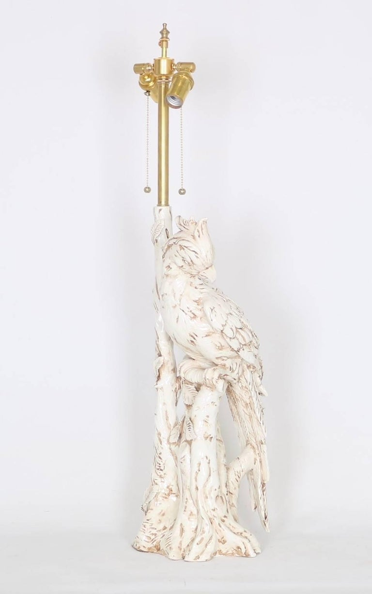 Hollywood Regency Italian Majolica Parrott Lamp For Sale At 1stdibs Wiring Socket Height Parrot Form In White There Are Two Available